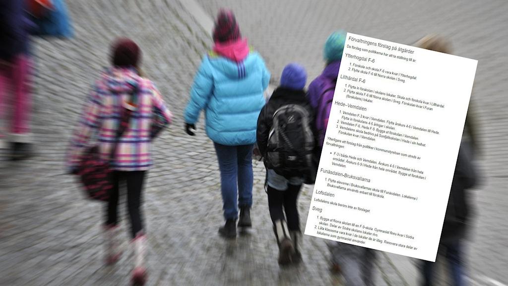 Barn som går med ryggen mot kameran samt en skärmdump över ett skolförslag från förvaltningen i Härjedalens kommun.