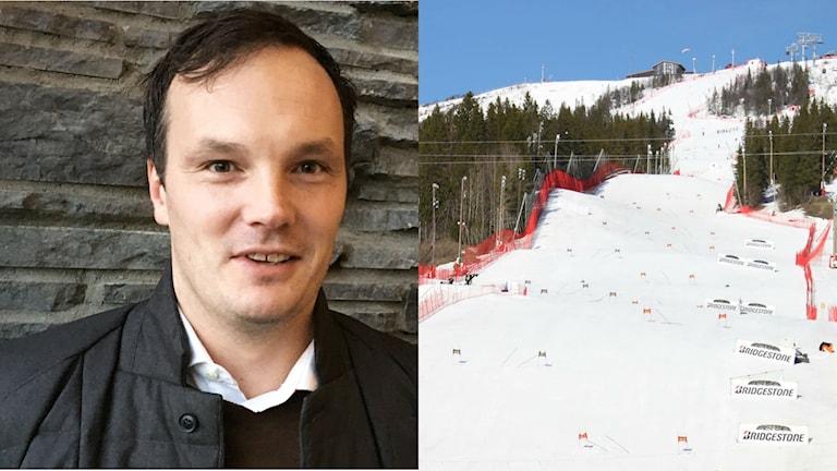 Tommy Eliasson Winter till vänster. Skidbacke i Åre till höger.