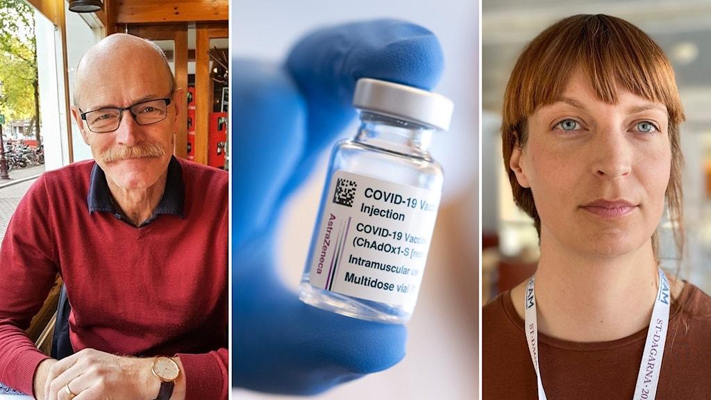 Till vänster: En tunnhårig man med glasögon och mustasch tittar in i kameran. I mitten, närbild på en liten flaska med Astra Zeneca-vaccin. Till höger: En kvinna med rött hår tittar in i kameran.