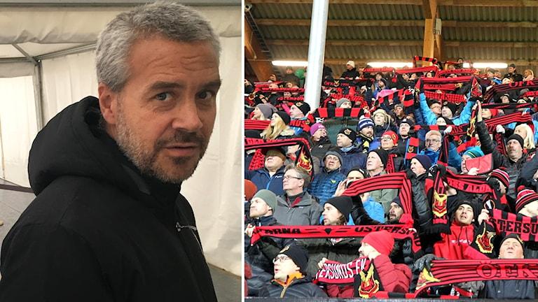 En dubbelbild med en porträttbild på Patrick Sjöö och ÖFK fans.