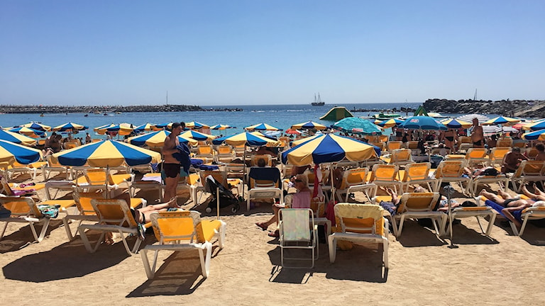 Solbadande människor och solparasoller på sandstrand.