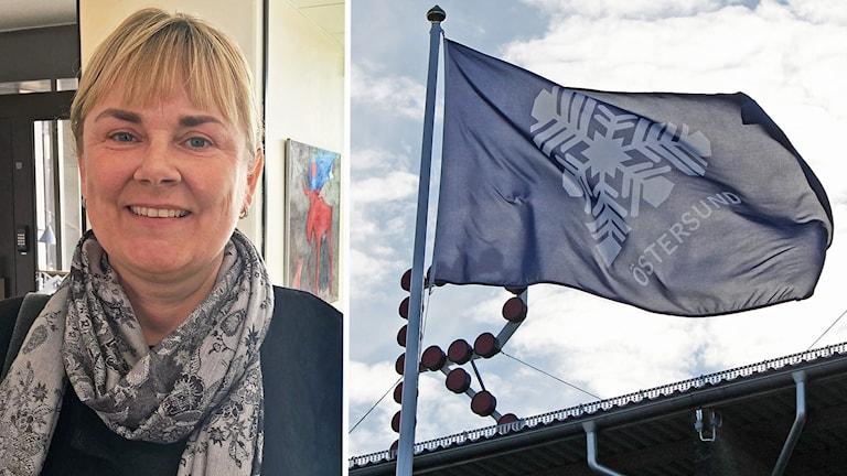 Montage: Östersunds snöhjärta vid Jämtkraft Arena och kommunens kommunikationschef Eva Larsson