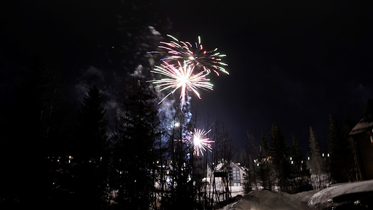 Nyårsfyrverkeri Åre Björnen, 160101. Foto: Pontus Lundahl/TT