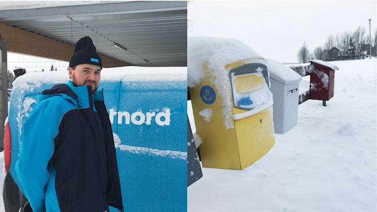 Niklas Hellgren är brevbärare. Till höger snötäckta brevlådor.