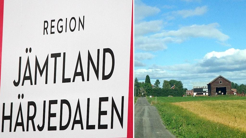 Region Jämtland Härjedalens logga och bild på landsbygd. Foto: Lotta Löfgren och Sylvia Dahlén