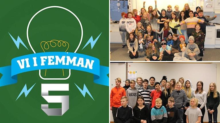 Tre bilder: Vi i femman-logotyp mot grön bakgrund samt två klassbilder