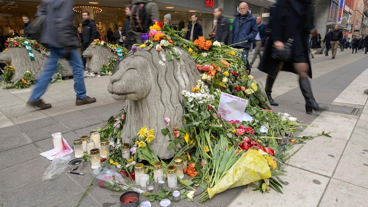 Ett av betonglejonen som ska hindra biltrafik på Drottninggatan täckt av blommor på måndagsmorgonen.