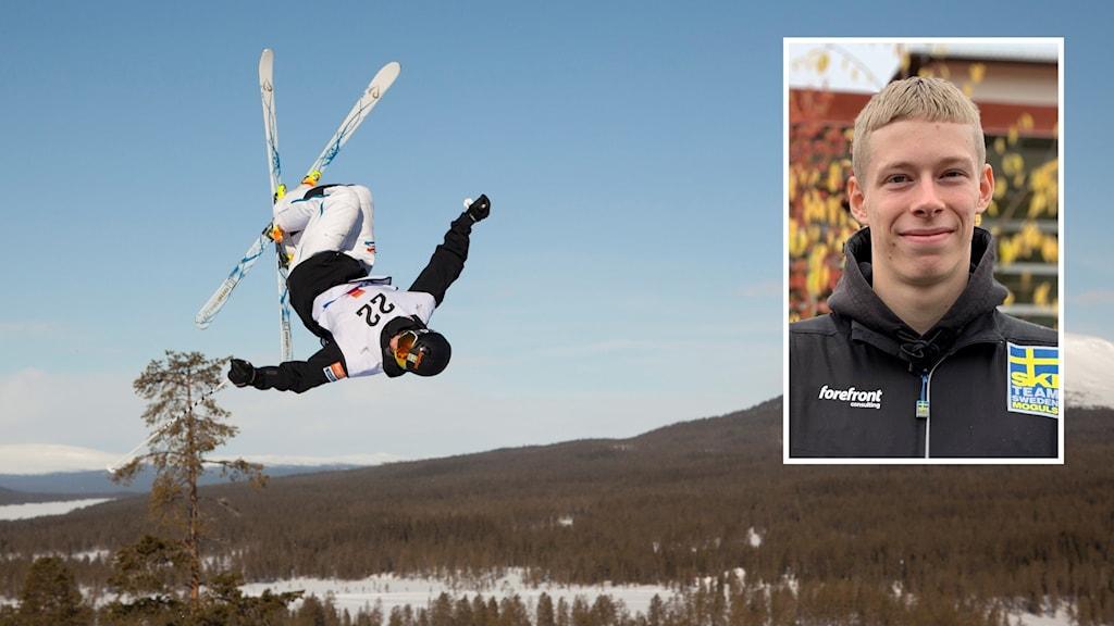 Skidåkare som hoppar och en infälld porträttbild på 19-årig man.