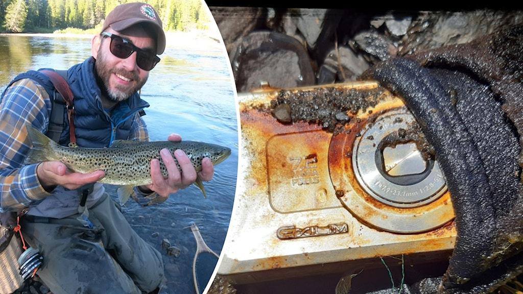 Till vänster en man som håller i en fisk som han har fiskat upp, till höger en närbild på en rostig digitalkamera.