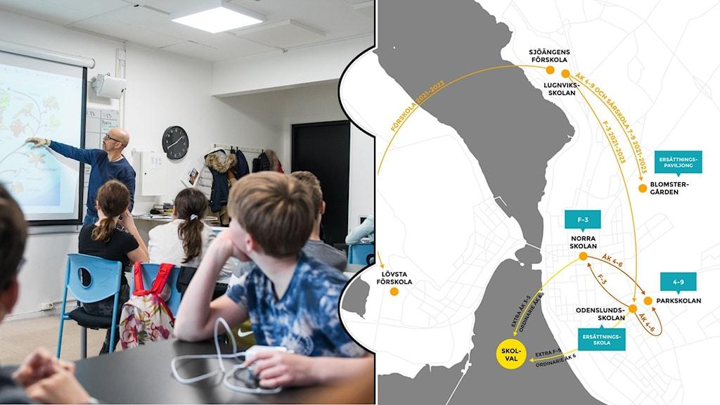 Ett kollage över ett klassrum där en manlig lärare pekar på en stor tavla, och en karta över Östersund med streck emellan olika skolor.