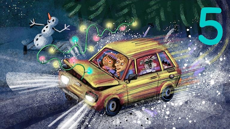 Biggest Bang, del 5: Tyra, Lukas och Rufsa kör farmors gamla Fiat. Bild: Anna Sandler