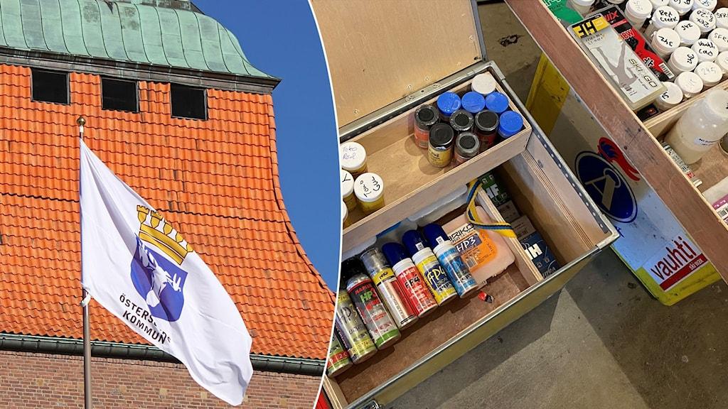 Flera lådor med små burkar, askar och spayer med mestadels flourvalla i.