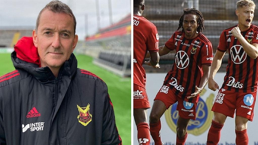 En man i ÖFK-jacka med mörkt hår och skarp näsa och haka samt fotbollsspelare i rödsvartrandiga tröjor