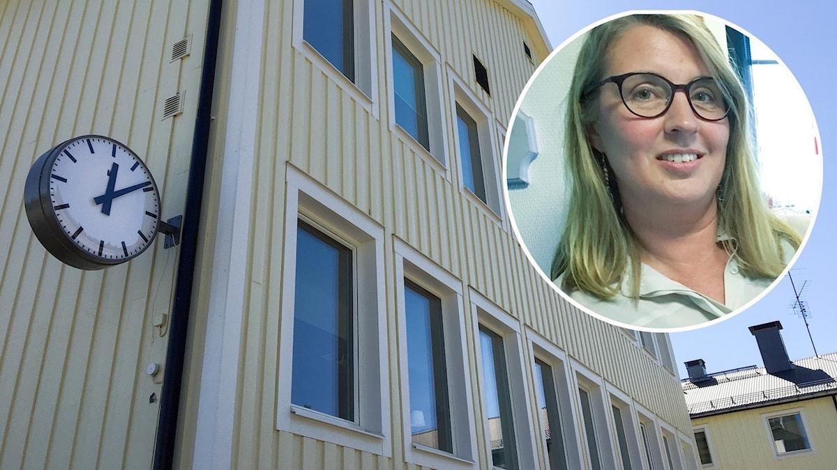 skolfasad med inklippt porträttbild på kvinna.