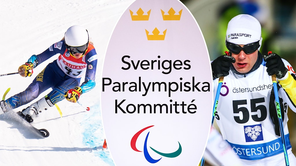 Tre bilder kollage. Logotyp Sveriges Paralympiska kommitté i mitten samt en kvinnlig alpinåkare och en manlig längdskidåkare på vardera sidan
