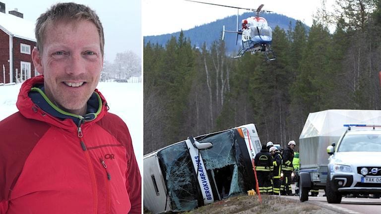 Porträttbild på en man och en bild på en olyckasplats där en buss vält ner i diket.