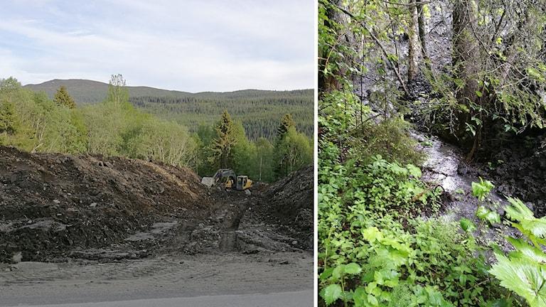 Montage av jordhögar och grävmaskin samt jordhög vid vattendrag