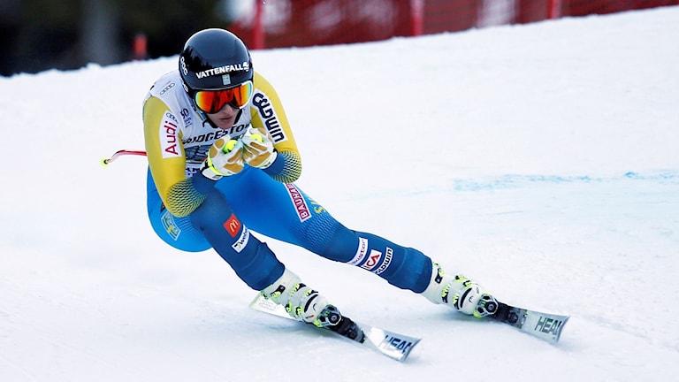 Slalomåkare i skidbacke