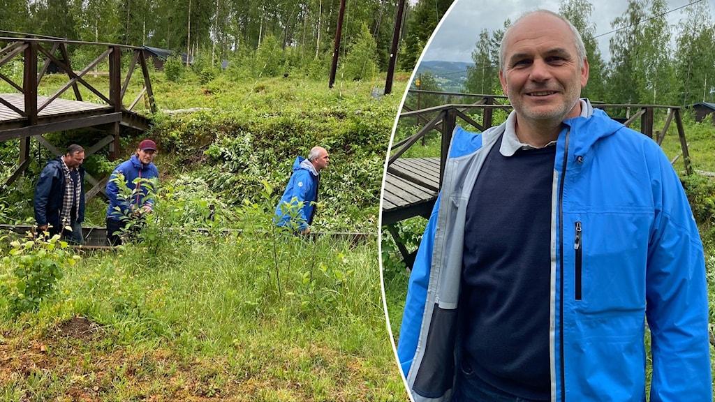 Närbild man i blå jacka samt tre män som går i träbana i högt gräs