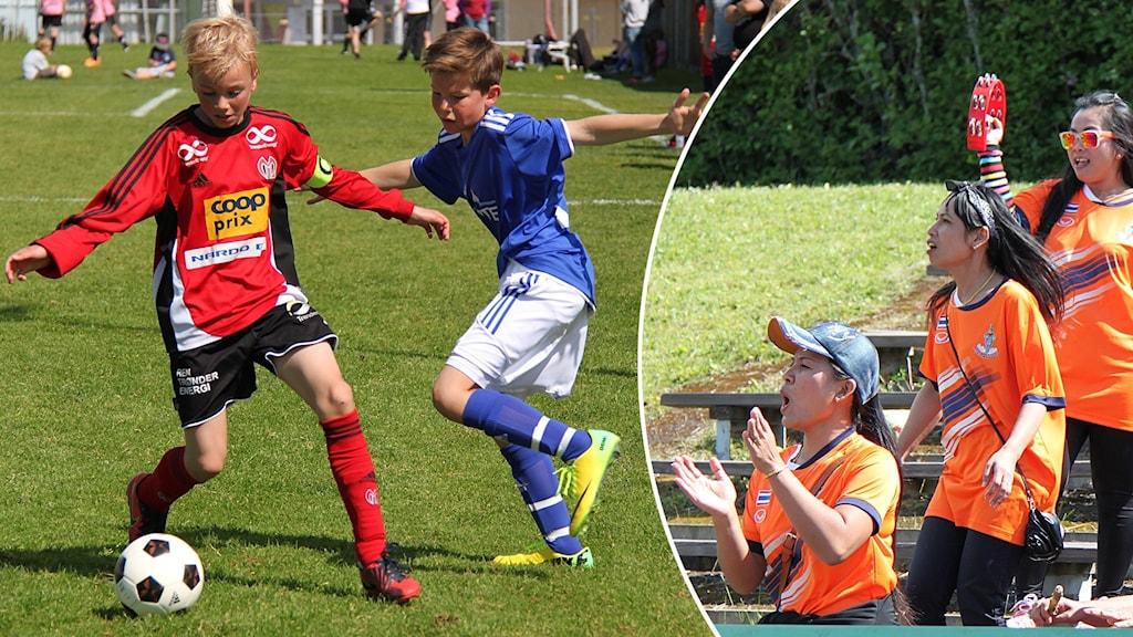 Två bilder: Pojkar spelar fotboll samt flickor hejar från läktare