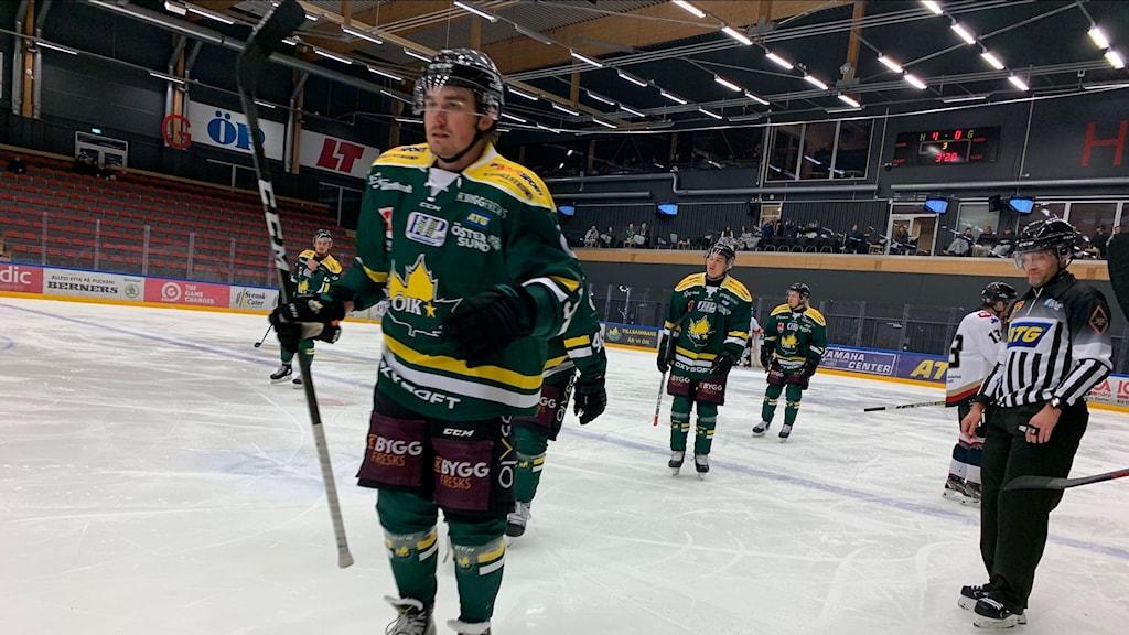 ishockeyspelare firar ett mål