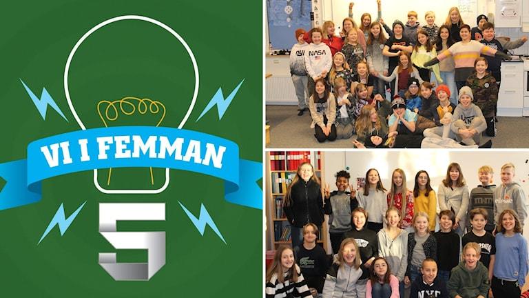 Tre bilder: logotyp Vi i femman på grön botten samt två klassbilder