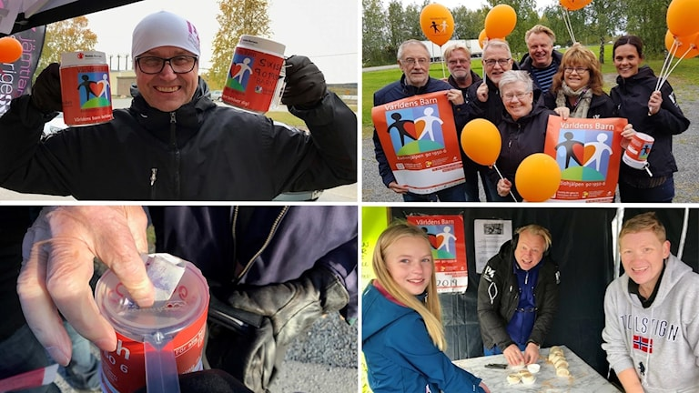 Kollage av bilder från P4 Jämtlands utesändningar för Världens barn. Foto: Sveriges Radio