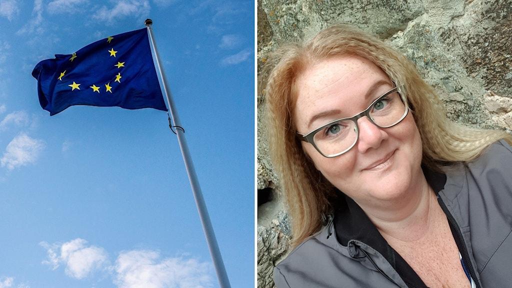 flagga och kvinna på två olika bilder