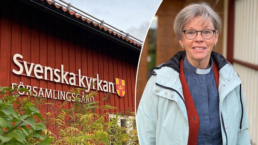 """Kvinna med kortklippt, gråsprängt hår och prästkrage samt rödmålad träbyggnad med fasadskylt """"Svenska Kyrkan församlingsgård"""""""