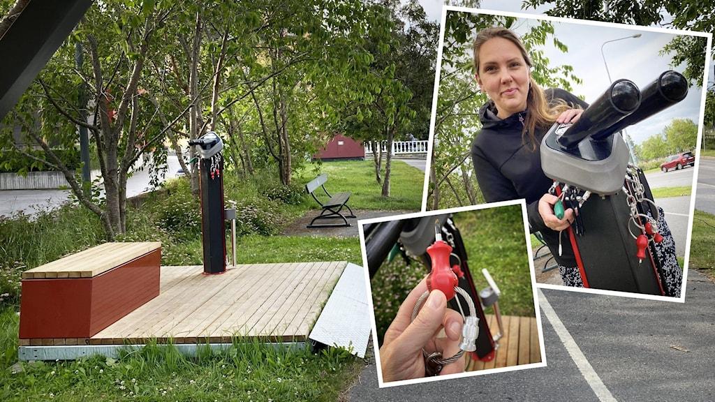 Bildmontage på kvinna, och verktyg på servicestation för cyklar.