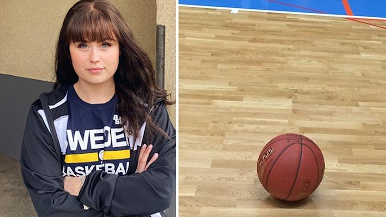 Kvinna med händerna i kors och en basketboll