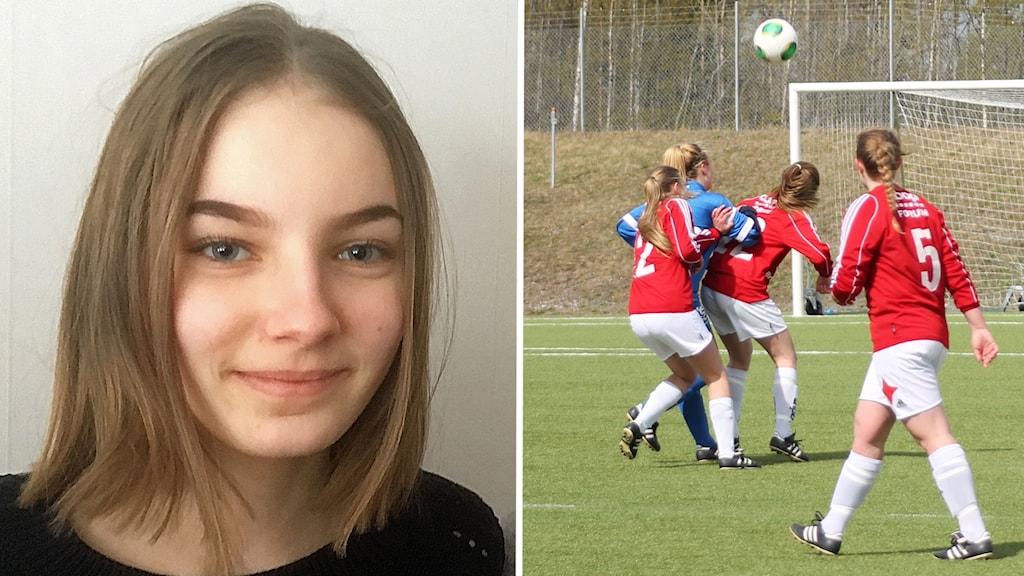 Kollage flickporträtt samt fotbollsspelande flickor på fotbollsplan i kamp om bollen