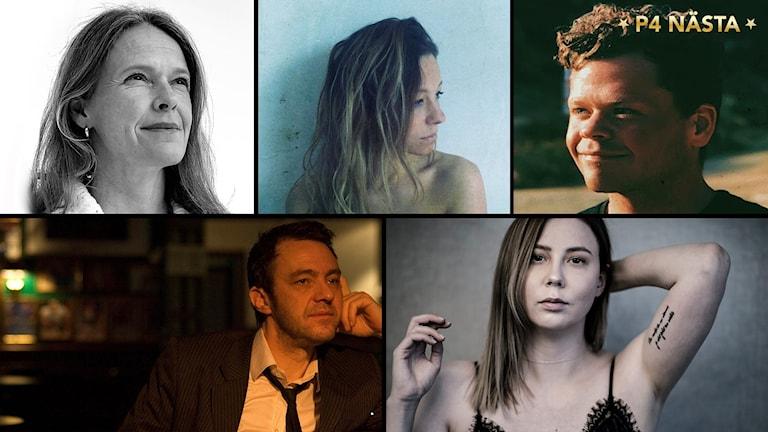 Kollage av 5 porträttbilder på musikartister, tre kvinnor och två män