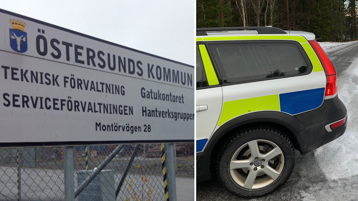 Till vänster en skylt från Östersunds kommun och till höger en polisbil.