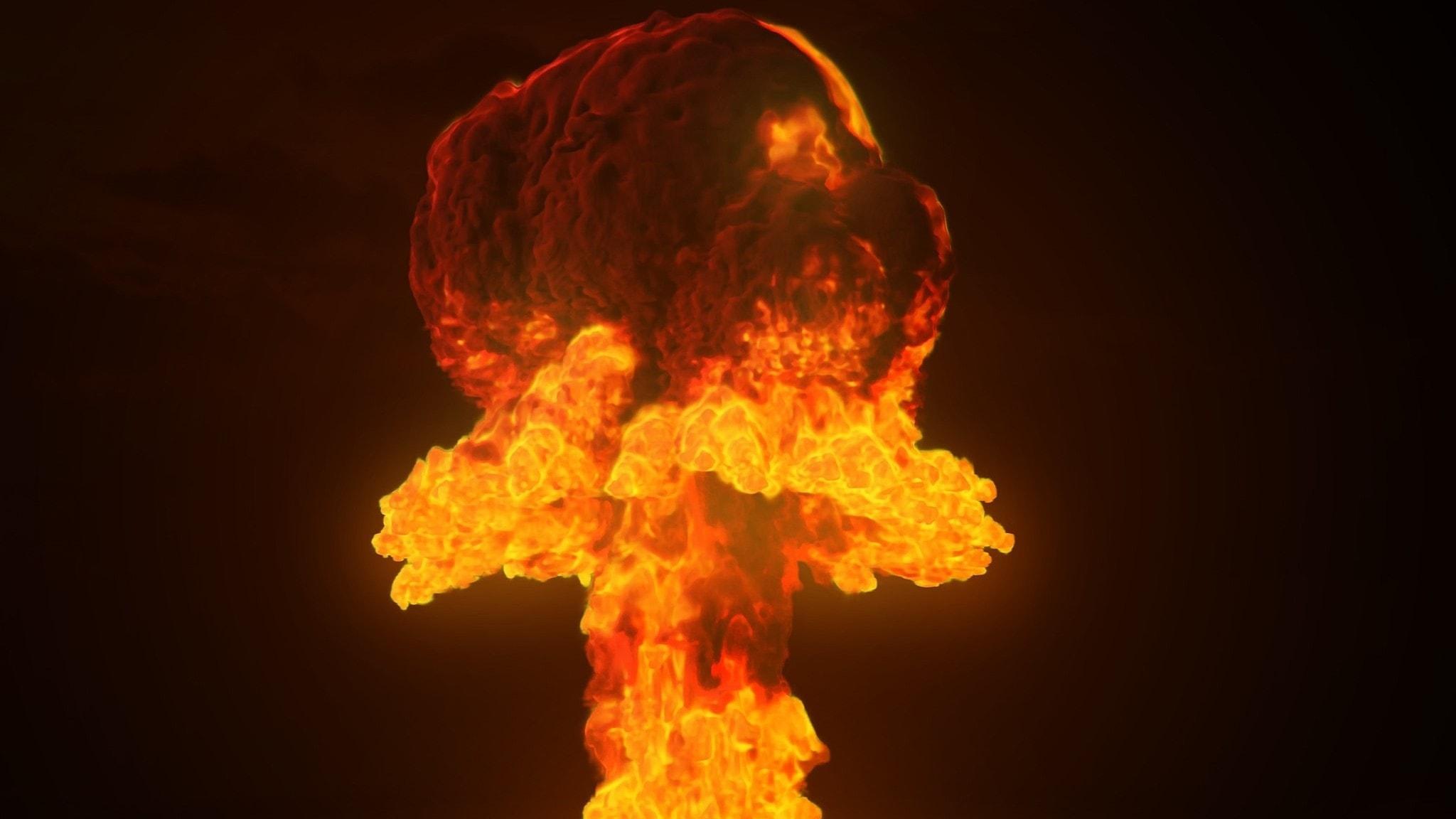 Bild på en atom som exploderar
