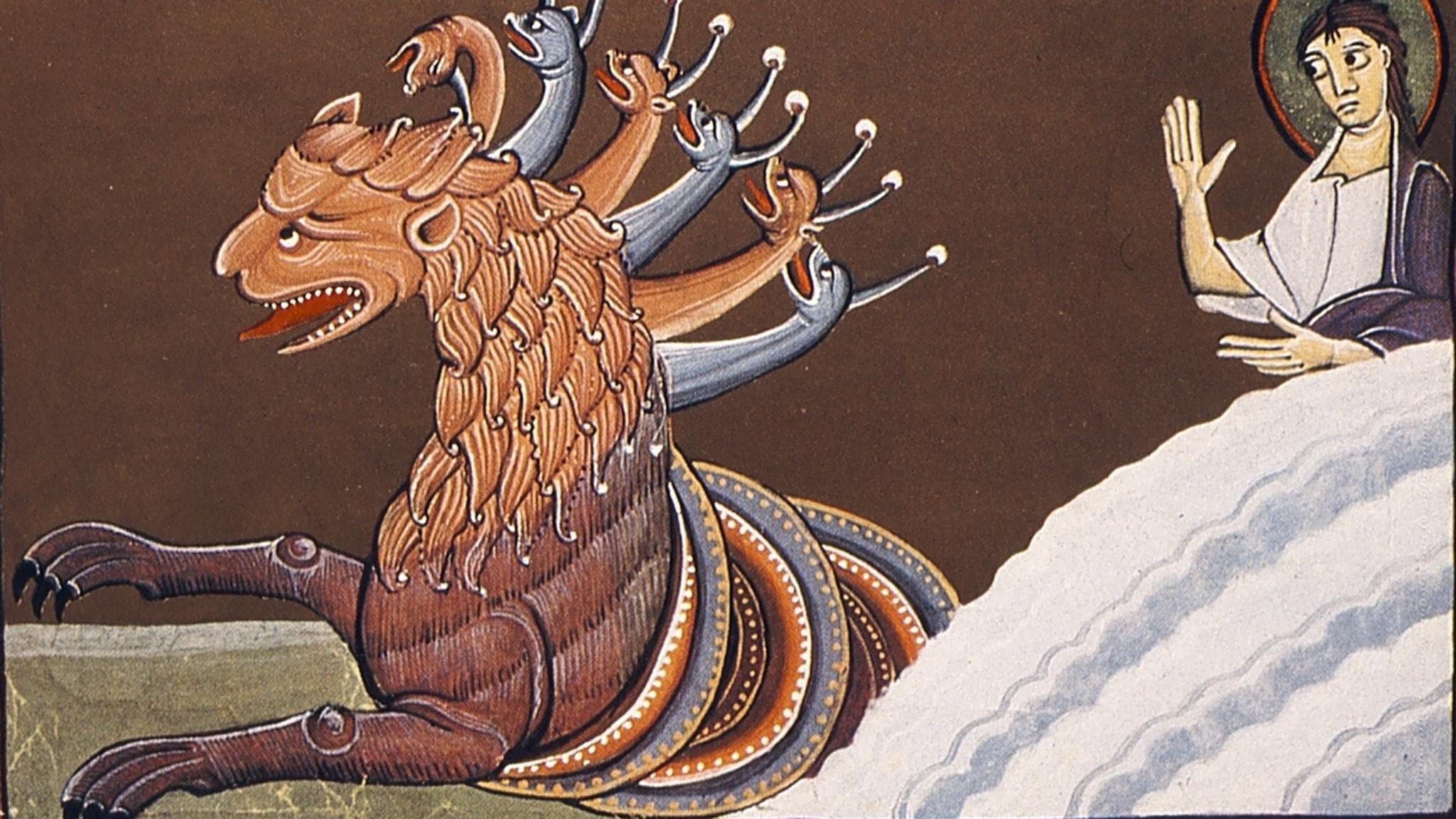 """""""Jag såg nu ett odjur stiga upp ur havet. Det hade tio horn och sju huvuden och på sina horn tio kronor och på sina huvuden hädiska namn""""..."""