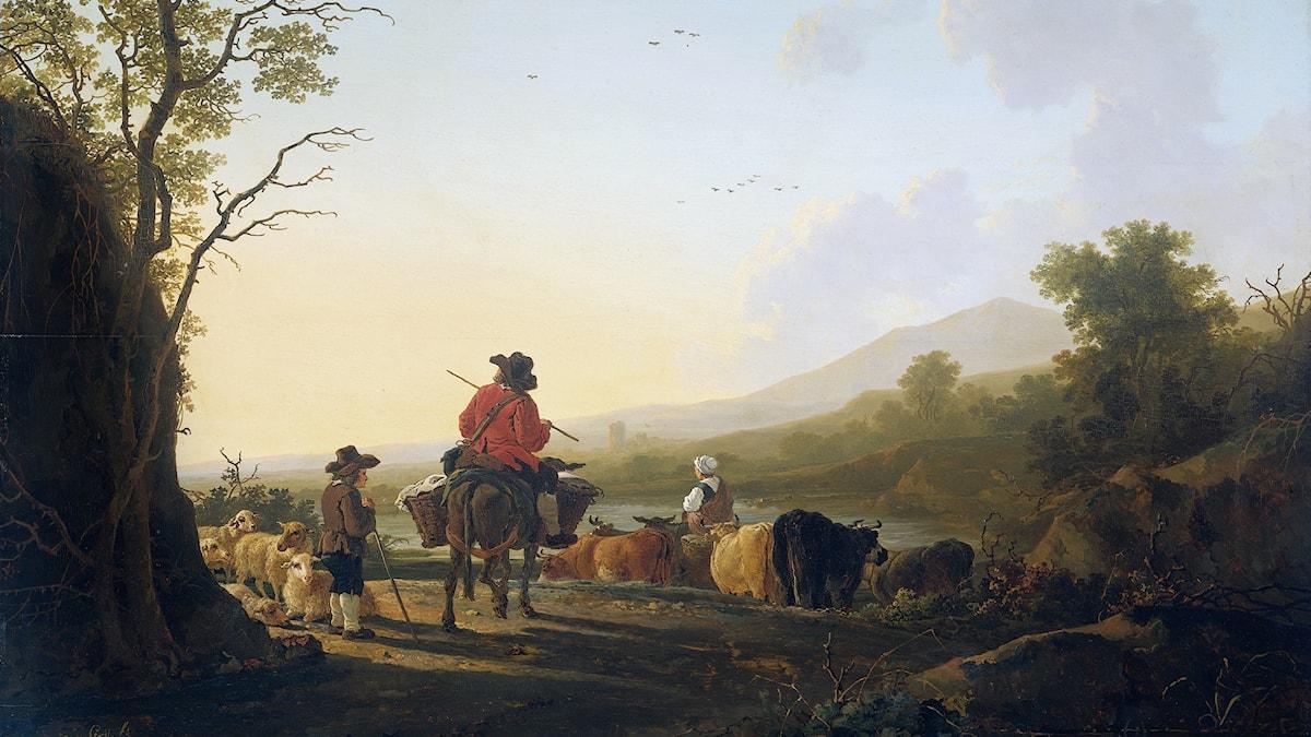 """""""Landschap met veedrijver en schaapherder"""" av Jacob van Strij (1756-1815)"""