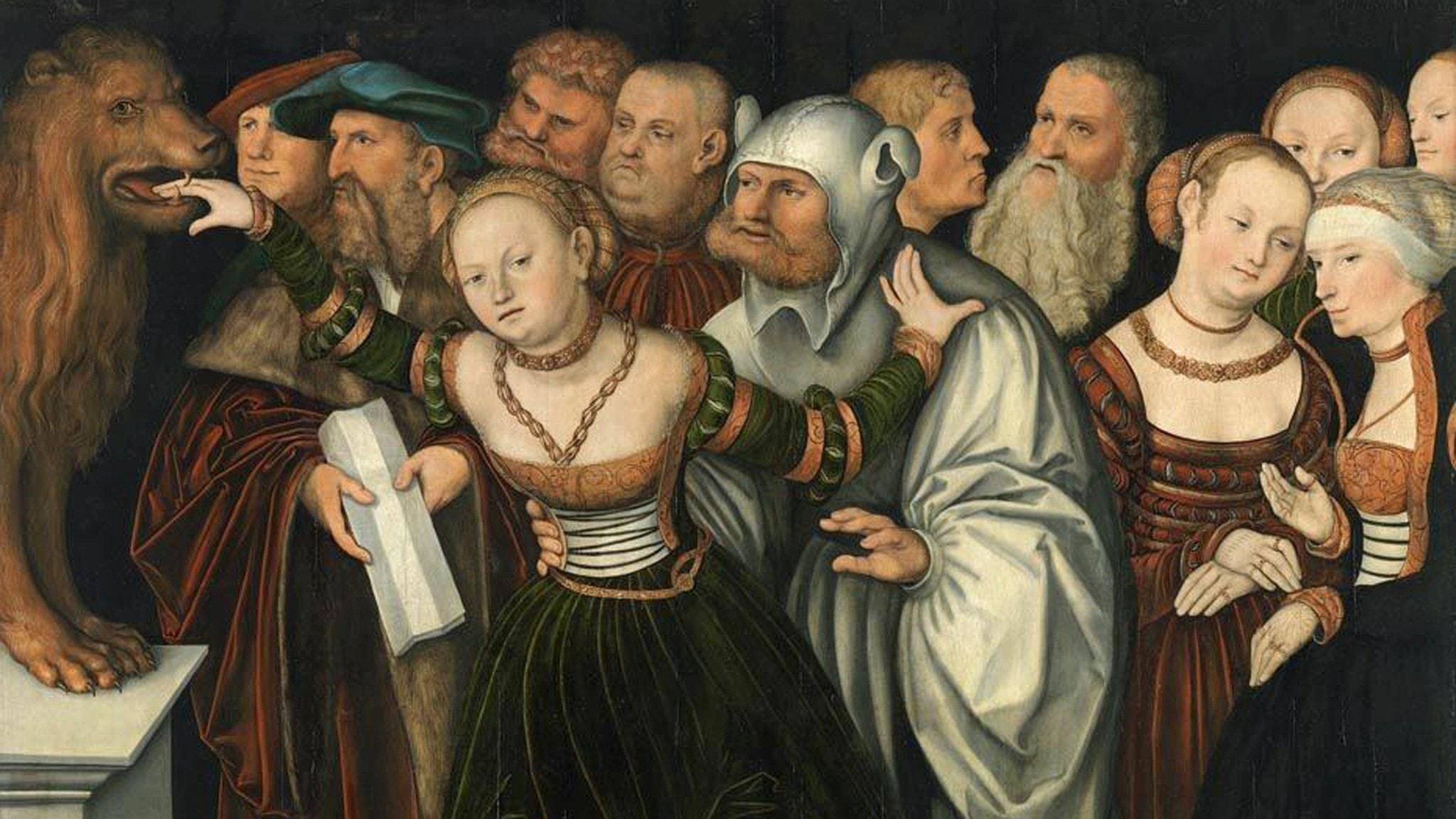 """En kvinna anklagad för äktenskapsbrott utsätts för den antika lögndetektorn """"Bocca della veritá"""" (sanningens mun) i Hans Cranachs målning från 1534."""