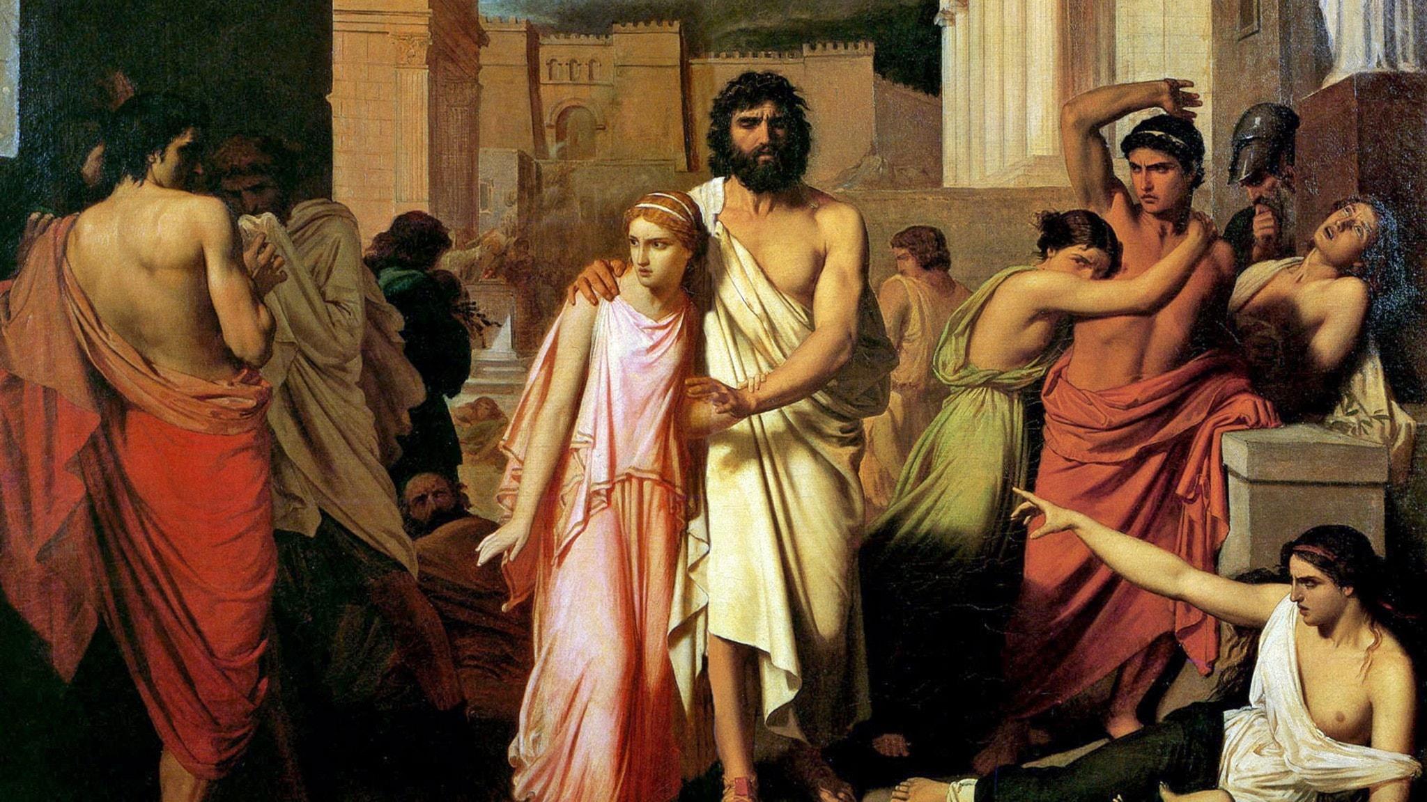 Vad plågar Thebe? Antigone leder Oidipus ut ur staden, målning från 1842 av Charles Francois Jalabert.