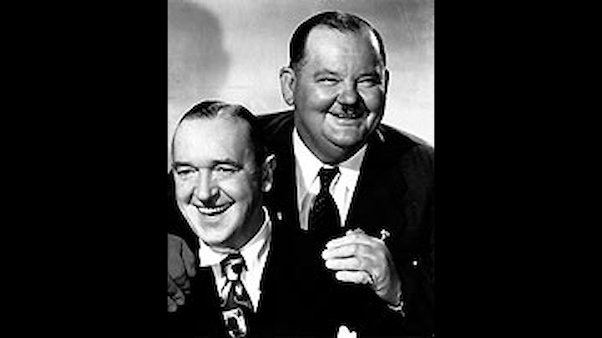Skådespelarna Stan Laurel (vänster) och Oliver Hardy. Paret bakom filmfigurerna Helan och Halvan.  Foto: Scanpix