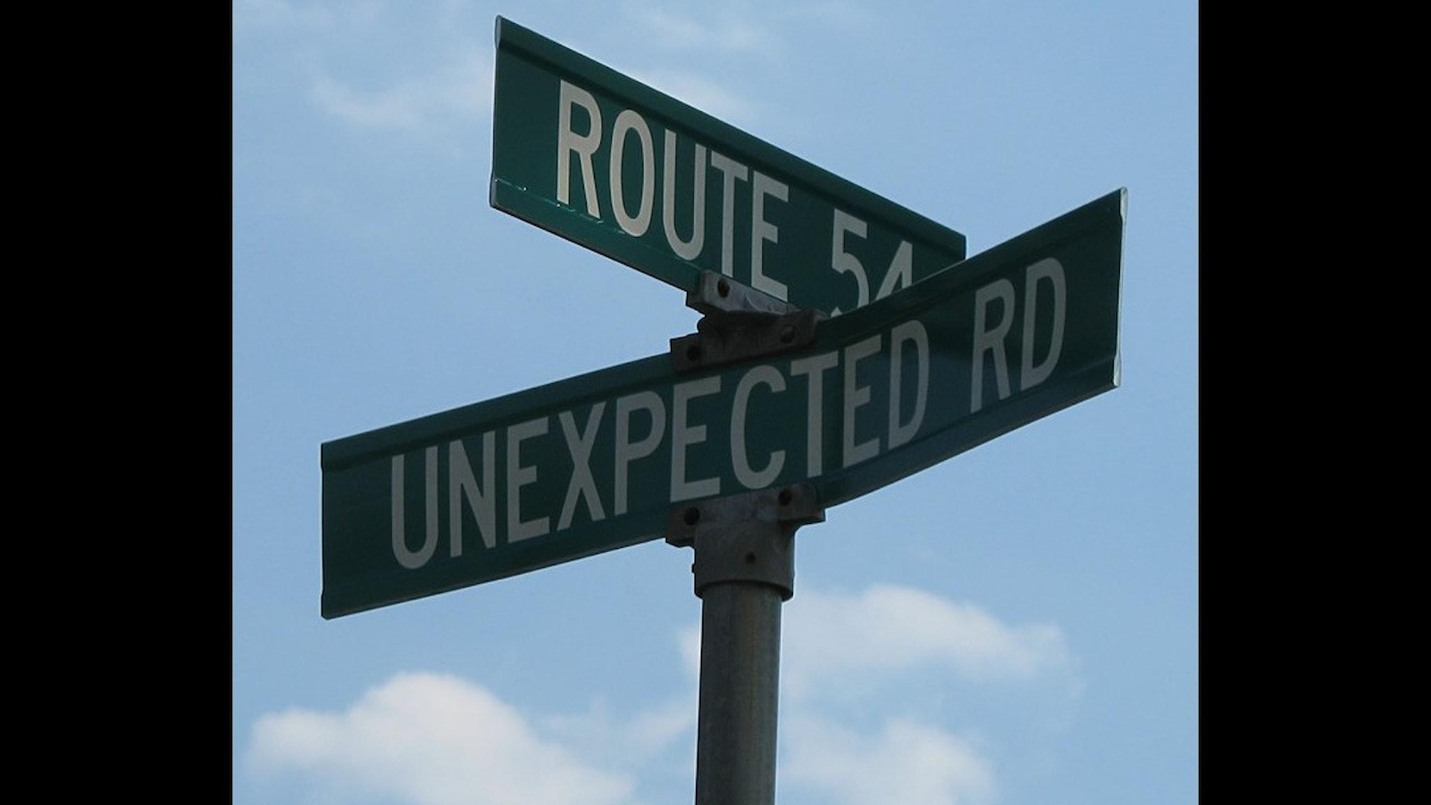 Bild på två gatuskyltar där en har namnet Unexpetcted road.