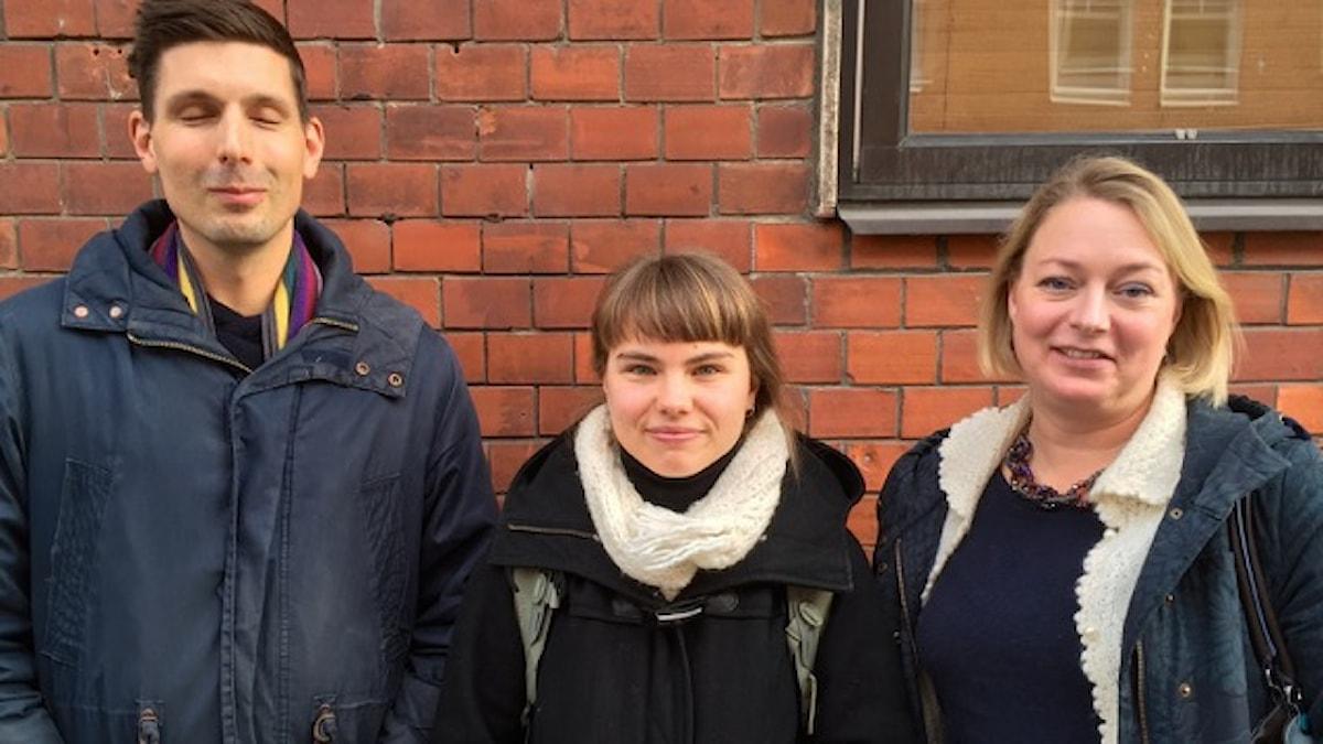 Könskvoterade? David Brax, Annika Gilljam och Sofia Nerbrand, gäster i veckans upplaga av Filosofiska rummet - Kvinnokvoten. Bild: Thomas Lunderquist
