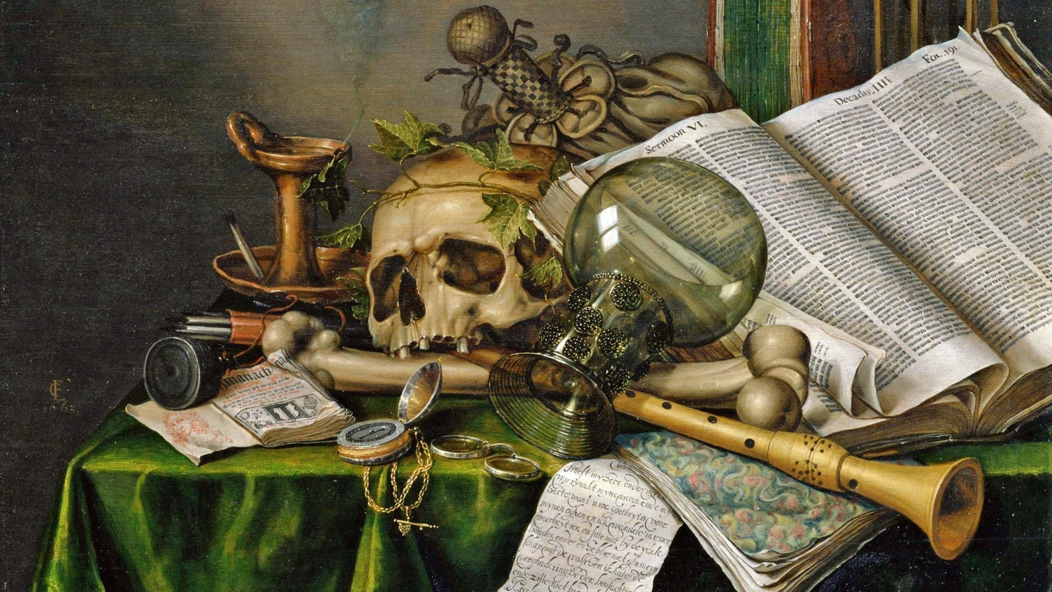 Är framtiden ur led? Vanitasstilleben från 1663 av Evert Collier.