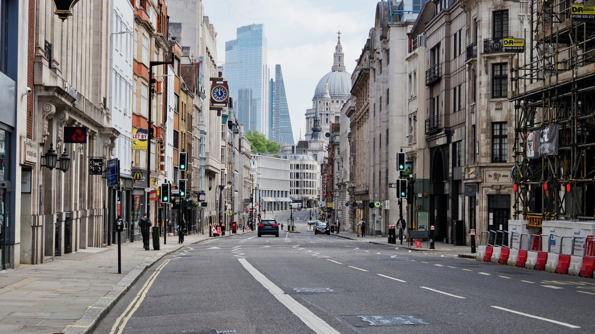 Lockdown i London. Öde Fleet Street i maj 2020.
