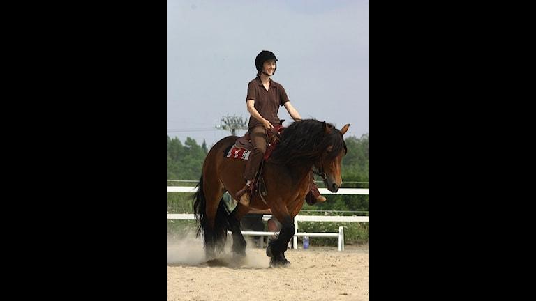 Jonna Bornemark på sin häst Freja