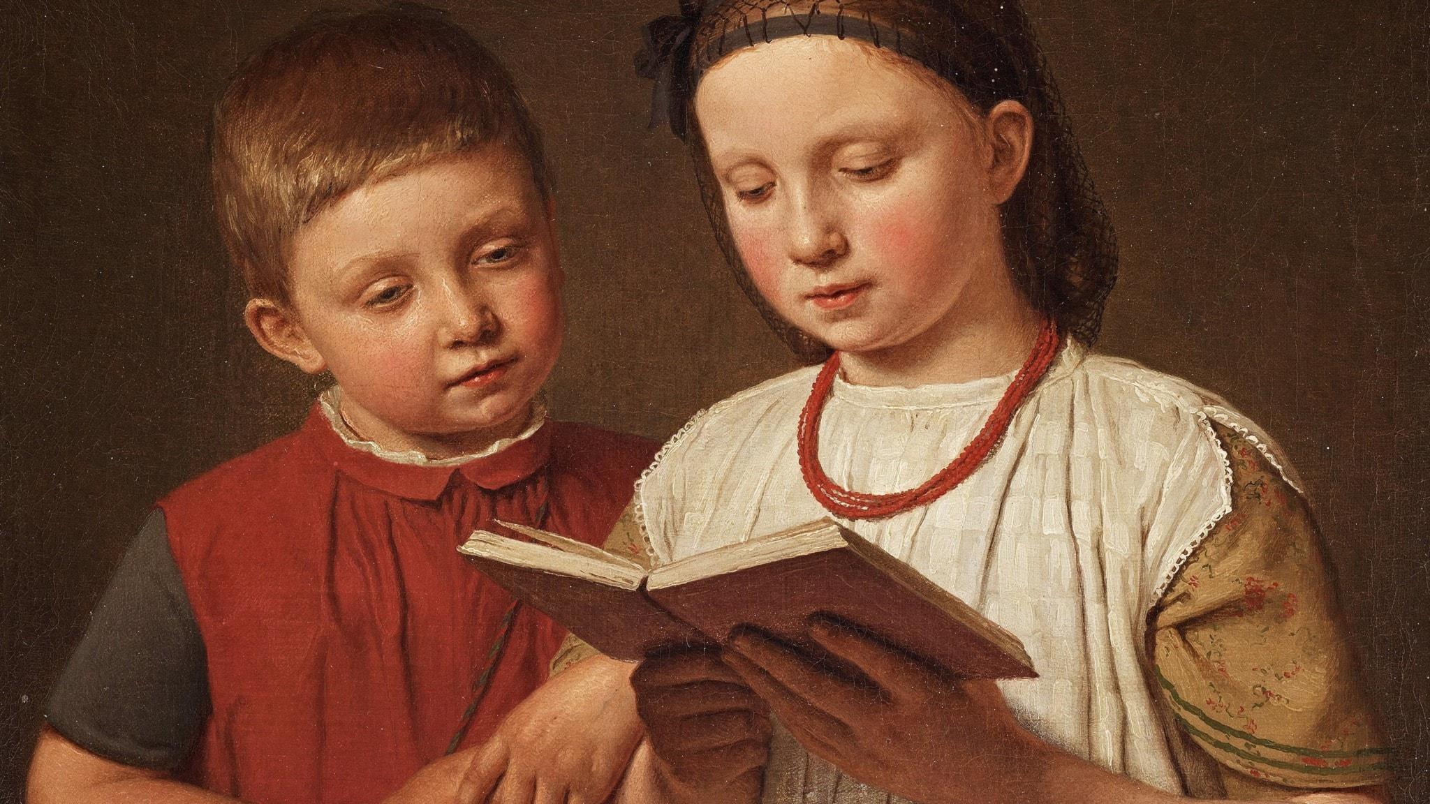 """Christen Købke: """"To læsende børn"""", 1845 (beskuren)"""