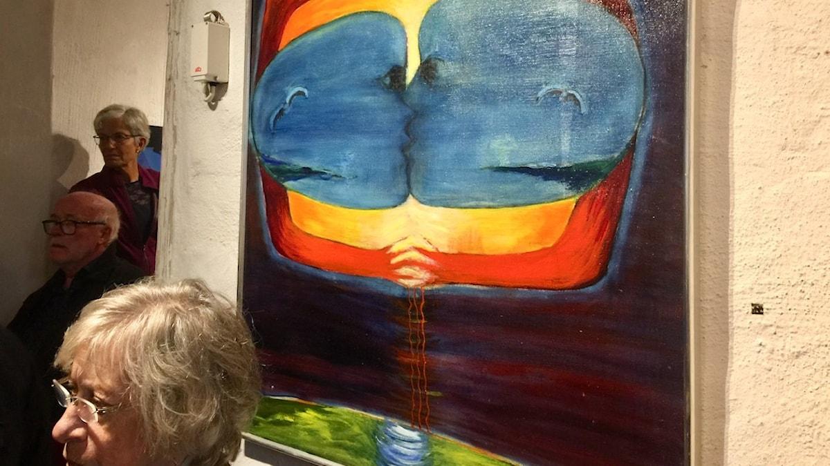 Violet Tengbergs målning som omtalas i början av samtalet.