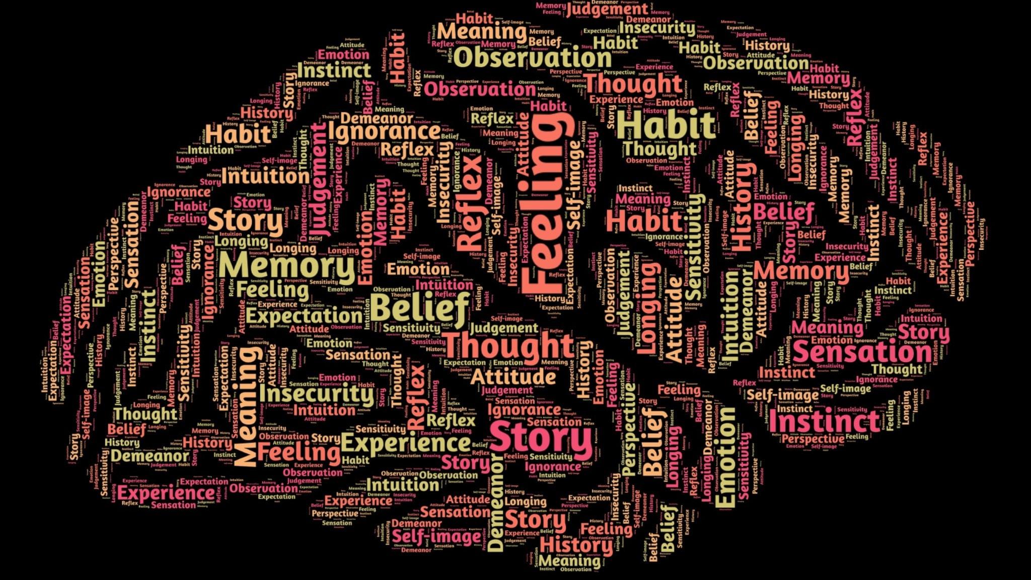 Tecknad hjärna med massor med ord som vindlar