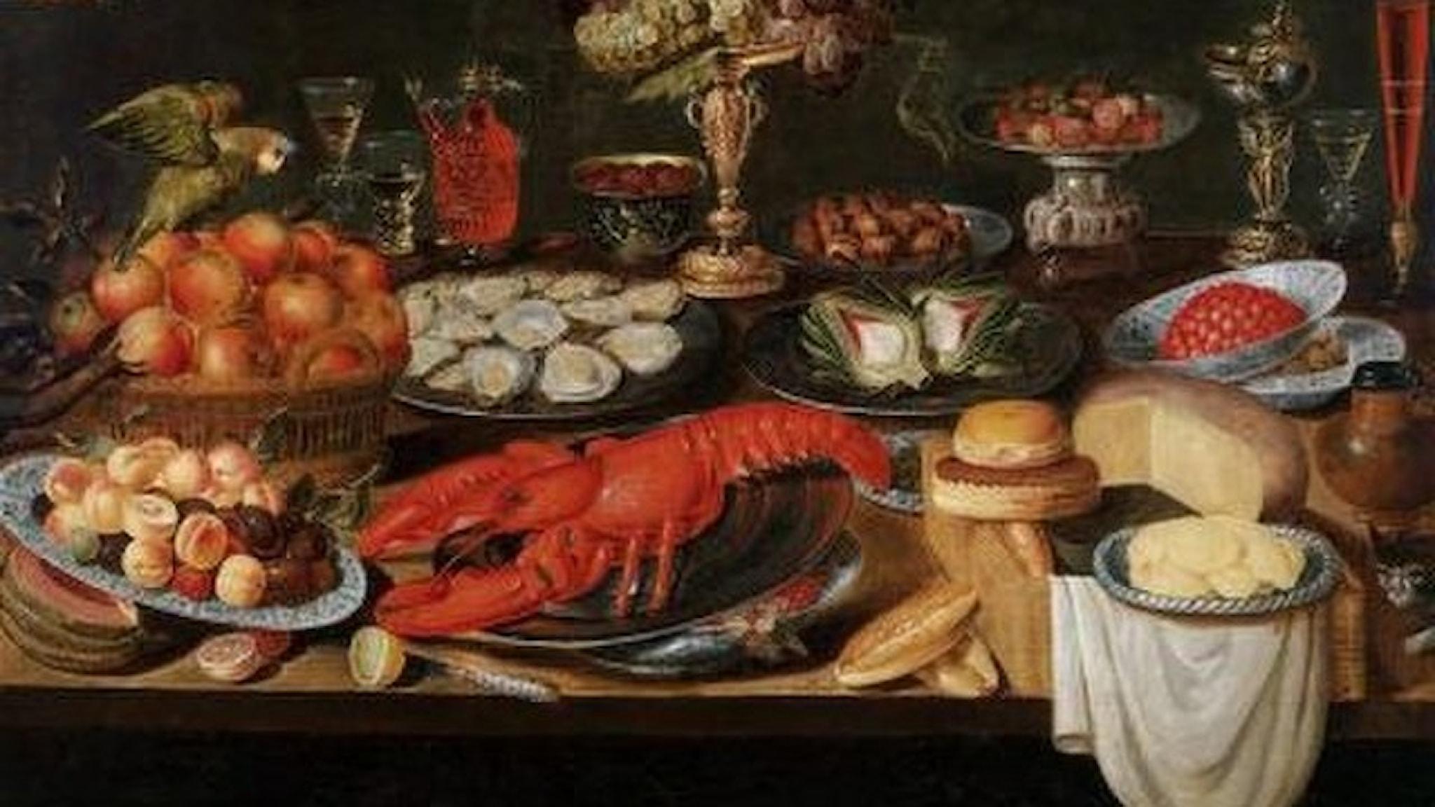 Målning från 1600-talet. Stilleben mat.
