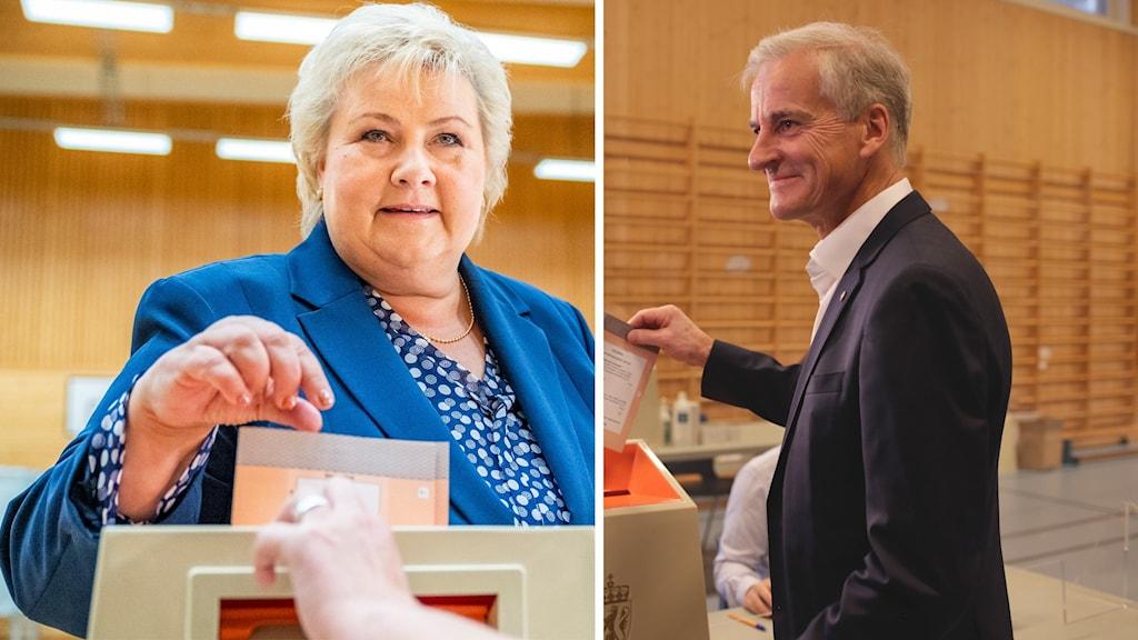 Statsminister Erna Solberg (Höyre) och Arbeiderpartiets ledare Jonas Gahr Störe.